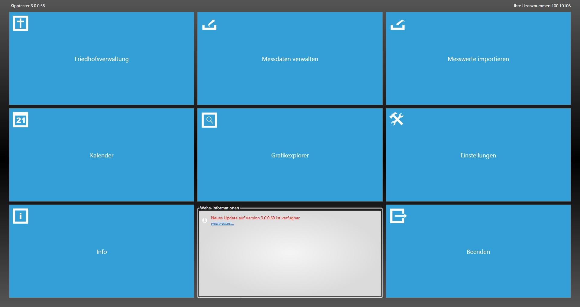 Screenshot Kipptester Software Friedhofsverwaltung Grabstein Messgerät