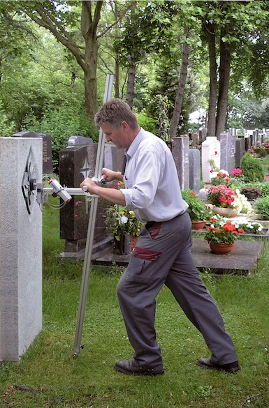 Demonstration Kipptester auf Friedhof